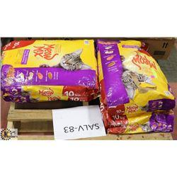 FOUR 10KG BAGS OF MEOW MIX ORIGINAL CAT FOOD