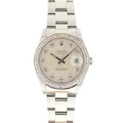 Rolex Stainless Steel Diamond Watch