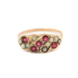 Victorian Gold, Pearl & Ruby Ring (Size 6)