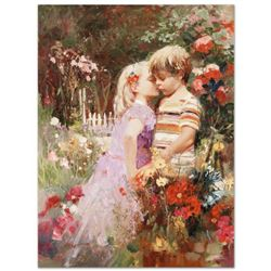 "Pino (1939-2010), ""The Kiss Revisited"" Artist Embellished Limited Edition on Canvas, AP Numbered and"