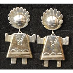 STERLING SILVER KACHINA EARRINGS (CHRISTIN WOLF)