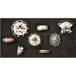 ZUNI AND NAVAJO INDIAN RINGS