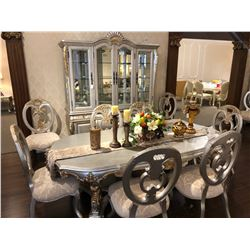FORMAL SILVER WITH GOLD ACCENT DINING ROOM SET INCLUDES TABLE WITH 6 CHAIRS, BUFFET AND HUTCH.