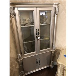 SILVER WITH GLASS FRONT CURIO CABINET, RETAIL $2,450.00