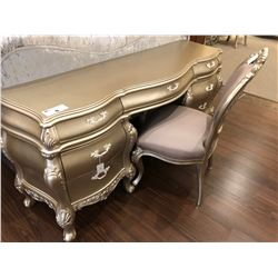 SILVER WITH FROSTED HANDLES HALL / BEDROOM DESK WITH CHAIR.  RETAIL $4,600.00