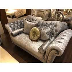 TUFTED BACK OVERSTUFFED FORMAL SILVER SOFA WITH ACCENT CHAIR, EACH COME WITH THROW CUSHIONS.