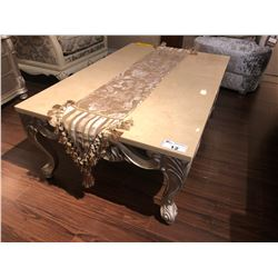 LARGE STONE TOP COFFEE TABLE WITH CARVED WOOD BASE, COMES WITH TABLE RUNNER.  RETAIL $2,650.00