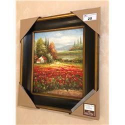 PAINTING WITH WOODEN FRAME - COUNTRY GARDEN WITH STREAM