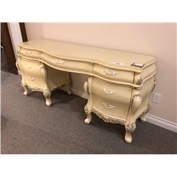 IVORY COLOURED ENTRANCE DESK WITH FROSTED HANDLES.  RETAIL $3,350.00