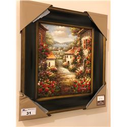 PAINTED ARTWORK WITH WOODEN FRAME - OLD COUNTRY LANE