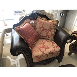 OVER SIZED LEATHER AND FLORAL PRINT LOUNGE CHAIR.  RETAIL $2,350.00