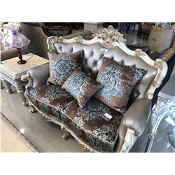 FORMAL LIVING ROOM SET WITH LOVE SEAT AND TWO MATCHING CHAIRS  C/W THROW CUSHIONS. RETAIL