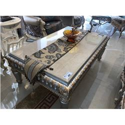 FORMAL STONE TOP TWO PC. COFFEE TABLE SET INC. COFFEE AND END TABLES.  RETAIL $3,950.00