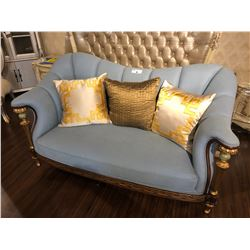 LIGHT BLUE TWO SEAT SOFA WITH WOOD TRIM AND ACCENTS, INC. THROW CUSHIONS