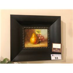 PAINTED ARTWORK WITH WOODEN FRAME - PEAR WITH FRUIT