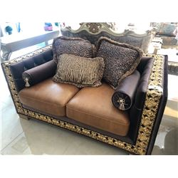 LEATHER WITH WOOD TRIM AND ACCENTS THREE SEAT SOFA WITH THROW CUSHIONS.  RETAIL $5,700.00