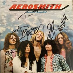 Signed Aerosmith Album Cover ( Their Debut Album)