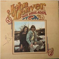 Signed John Denver Back Home Again Album Cover