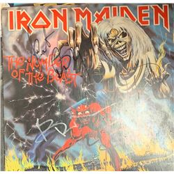 Signed Iron Maiden, The Number Of The Beast Album Cover