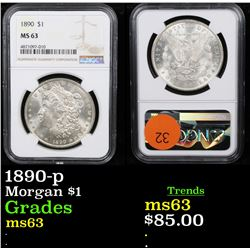 NGC 1890-p Morgan Dollar $1 Graded ms63 By NGC