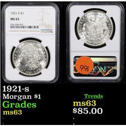 NGC 1921-s Morgan Dollar $1 Graded ms63 By NGC