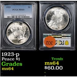 PCGS 1923-p Peace Dollar $1 Graded ms64 By PCGS