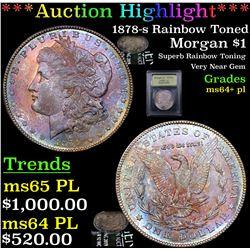***Auction Highlight*** 1878-s Rainbow Toned Morgan Dollar $1 Graded Choice Unc+ PL By USCG (fc)