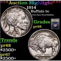 ***Auction Highlight*** 1914 Buffalo Nickel 5c Graded GEM++ Proof By USCG (fc)