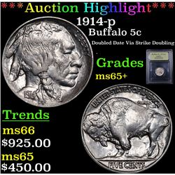 ***Auction Highlight*** 1914-p Buffalo Nickel 5c Graded GEM+ Unc By USCG (fc)