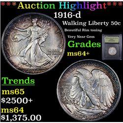 ***Auction Highlight*** 1916-d Walking Liberty Half Dollar 50c Graded Choice+ Unc By USCG (fc)