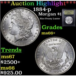 ***Auction Highlight*** 1884-p Morgan Dollar $1 Graded GEM++ Unc By USCG (fc)