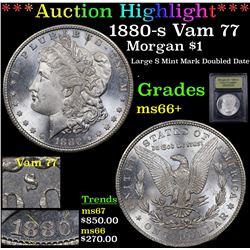 ***Auction Highlight*** 1880-s Vam 77 Morgan Dollar $1 Graded GEM++ Unc By USCG (fc)
