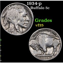 1934-p Buffalo Nickel 5c Grades vf+