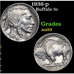 1936-p Buffalo Nickel 5c Grades Select AU