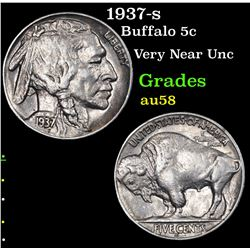 1937-s Buffalo Nickel 5c Grades Choice AU/BU Slider