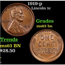 1919-p Lincoln Cent 1c Grades Select Unc BN