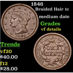 1846 Braided Hair Large Cent 1c Grades vf details