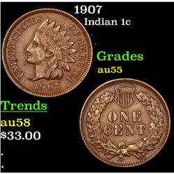 1907 Indian Cent 1c Grades Choice AU