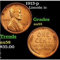 1913-p Lincoln Cent 1c Grades Choice AU