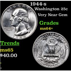1944-s Washington Quarter 25c Grades Choice+ Unc