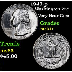 1943-p Washington Quarter 25c Grades Choice+ Unc
