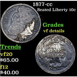 1877-cc Seated Liberty Dime 10c Grades vf details