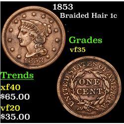 1853 Braided Hair Large Cent 1c Grades vf++