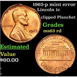 1965-p mint error Lincoln Cent 1c Grades Select Unc RD