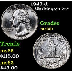 1943-d Washington Quarter 25c Grades GEM+ Unc