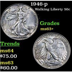 1946-p Walking Liberty Half Dollar 50c Grades Select+ Unc