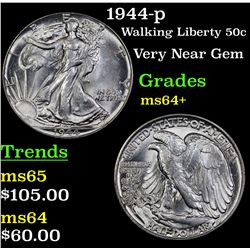 1944-p Walking Liberty Half Dollar 50c Grades Choice+ Unc