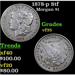 1878-p 8tf Morgan Dollar $1 Grades vf++