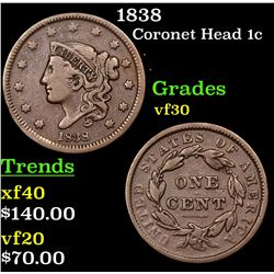 1838 Coronet Head Large Cent 1c Grades vf++