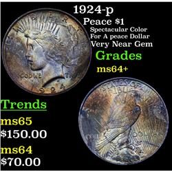 1924-p Peace Dollar $1 Grades Choice+ Unc